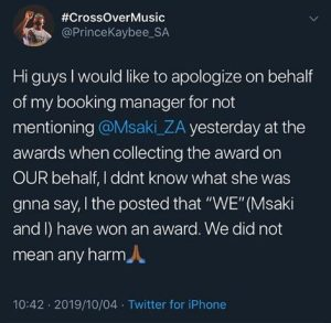 """""""We Did Not Mean Any Harm"""" – Prince Kaybee To Msaki"""